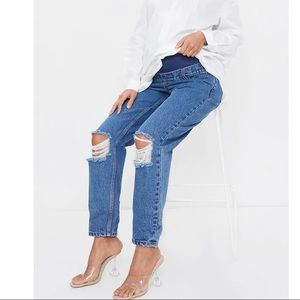Maternity Blue Mid Wash Ripped Knee Mom Jeans